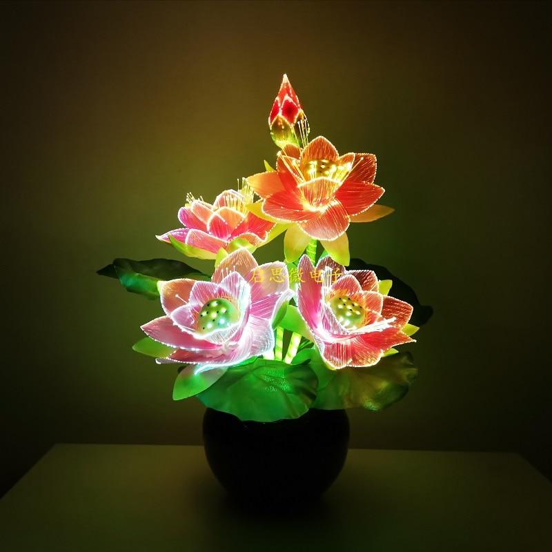 زهرة اللوتس Led ، مصباح زهرة اللوتس Led ، زهرة الألياف البصرية