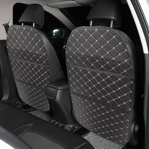 Car Interior Accessories Car Seat Back Storage Bag PU Leather Book Magazine Collection Multifunction Seat Back Anti-kick Pad