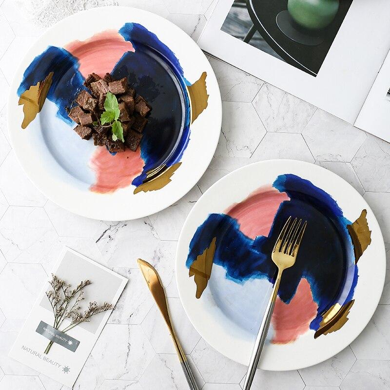 Acuarela Color collision hueso China plato creativo fruta postre plato carne occidental pan platos cocina vajilla