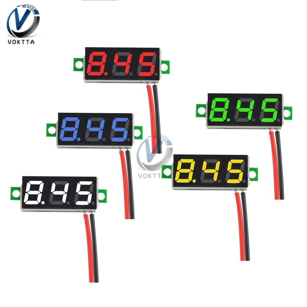 Voltímetro Digital LED de 0,28 pulgadas CC 0-100V 2,5-30 V medidor de voltaje detector de prueba de voltaje móvil rojo verde azul Amarillo Blanco
