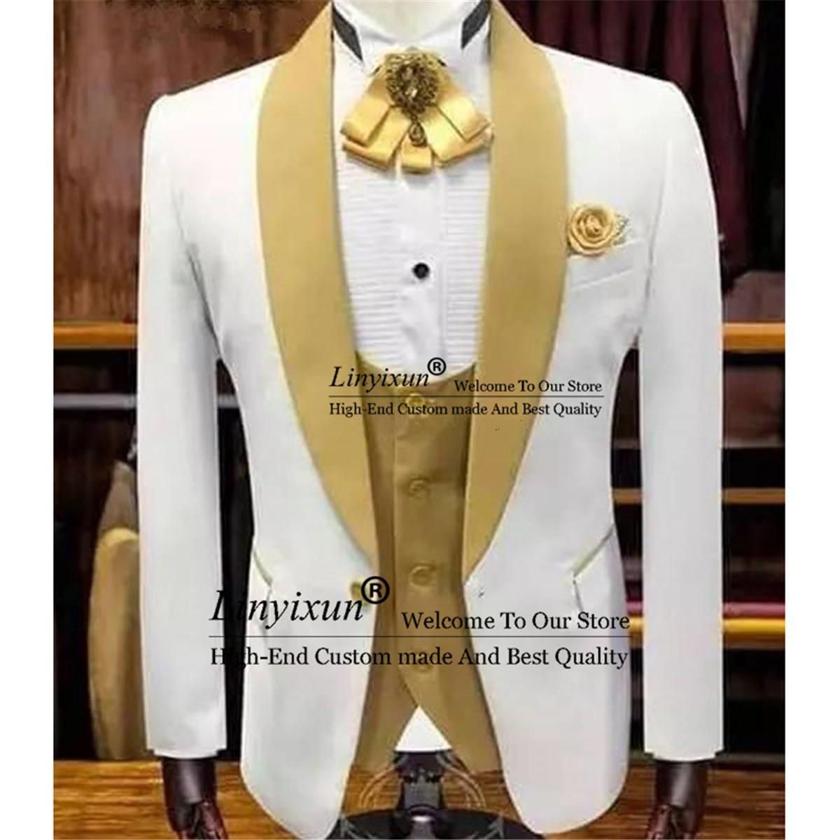 الأبيض الزفاف سهرة للعريس مع الذهب شال التلبيب 3 قطعة مخصص ملابس رجالي تلائم الرجل النحيف الدعاوى مجموعة سترة سترة بانت الذكور موضة الملابس