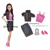11 5 fashion winter plaid jacket outfits set for barbie doll clothes coat shirt top skirt bag shoes 16 bjd accessories kid toy