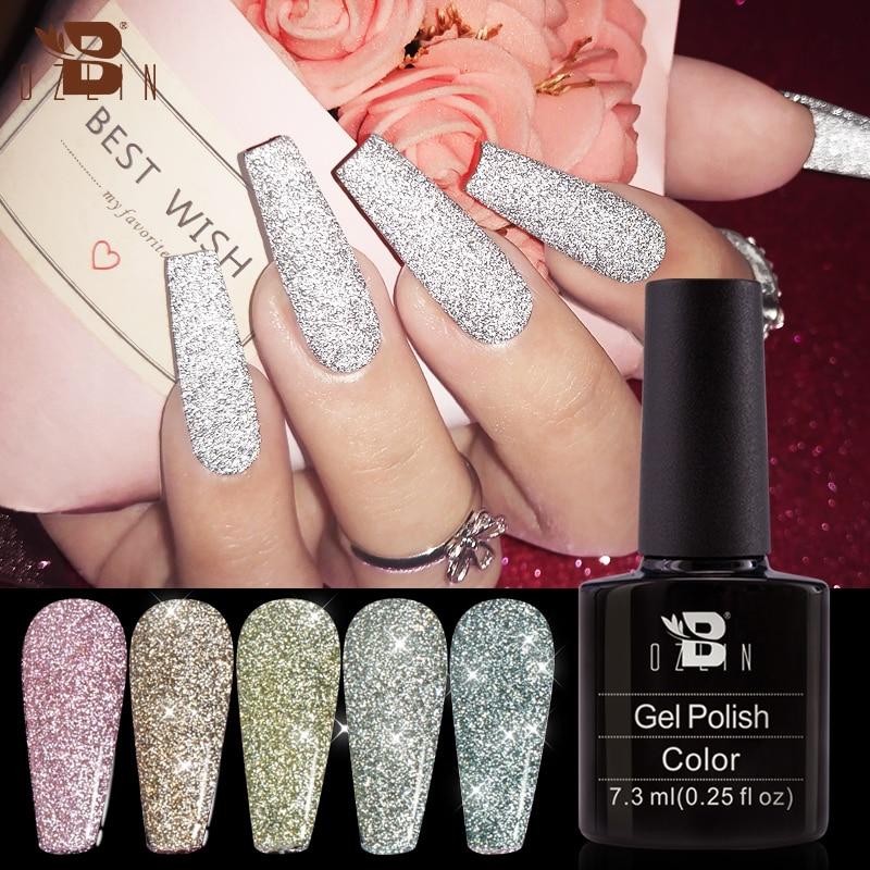 BOZLIN 24 Colors Reflective Glitter Gel Sequins Soak Off UV Gel Nail Polish Varnish Nails Art Tools