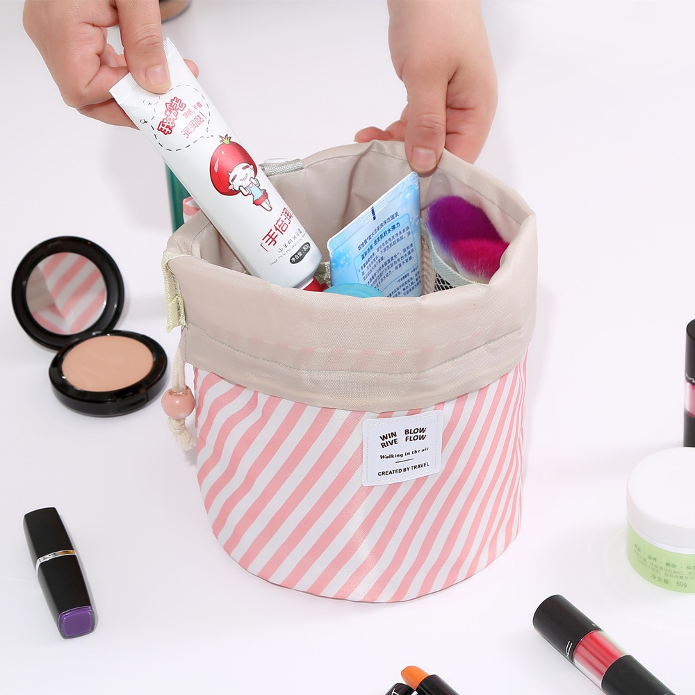 Hot Sale Drawstring Cosmetic Bag Round Travel Makeup Bag Organizer Make Up Case Storage Pouch Toiletry Beauty FOR Girl