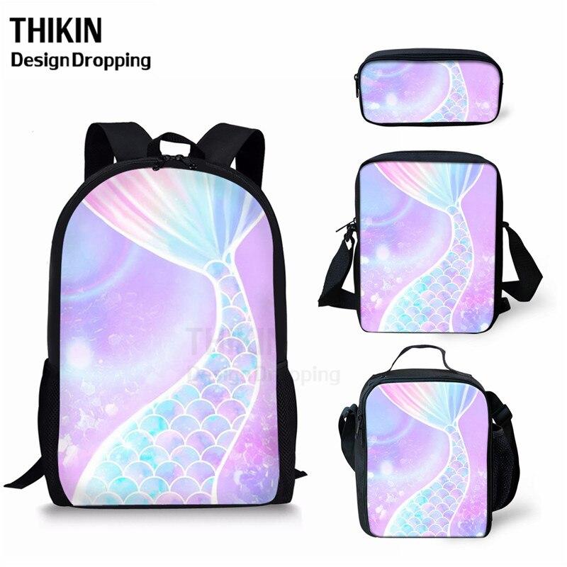 THIKIN, 4 Uds., mochila escolar con patrón de escamas de sirena de Color, mochila ortopédica para niñas, bolsa de libros para niños, bolsa infantil