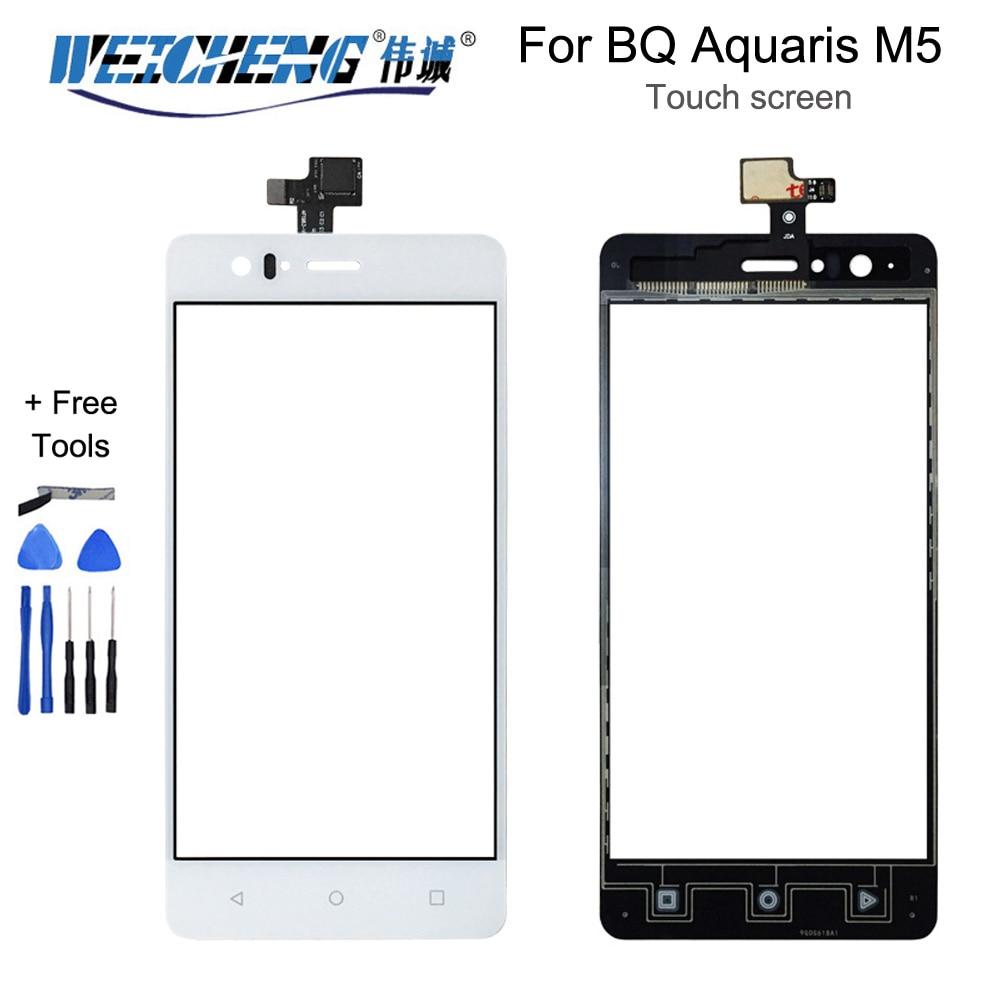 WEICHENG-pantalla táctil para BQ Aquaris M5, Cristal de exterior, digitalizador, táctil, negro/blanco