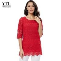 ytl women plus size clothing vintage delicate floral crochet lace top solid casual t shirt ladies tshirt tees 5xl 6xl 7xl h139