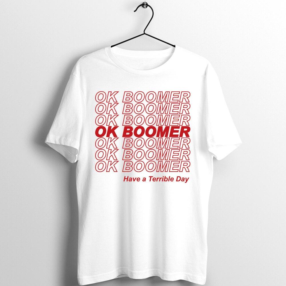 Camiseta negra recortada Unisex hombre mujer OK Boomer gracias que tengas un buen día me impreso camiseta
