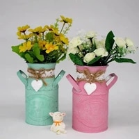 nordic simple creative round retro flower pot living room personalized flower bar living room rustic ornaments wrought crafts