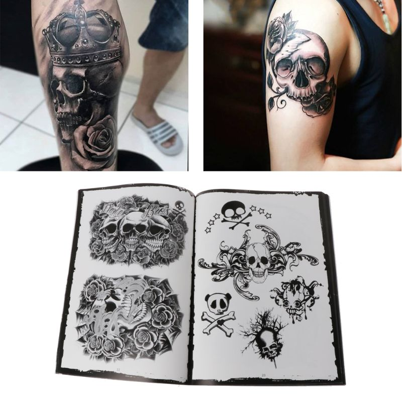 76-pagine-selezionato-skull-design-sketch-flash-book-tattoo-art-supplies-a4-nuovo