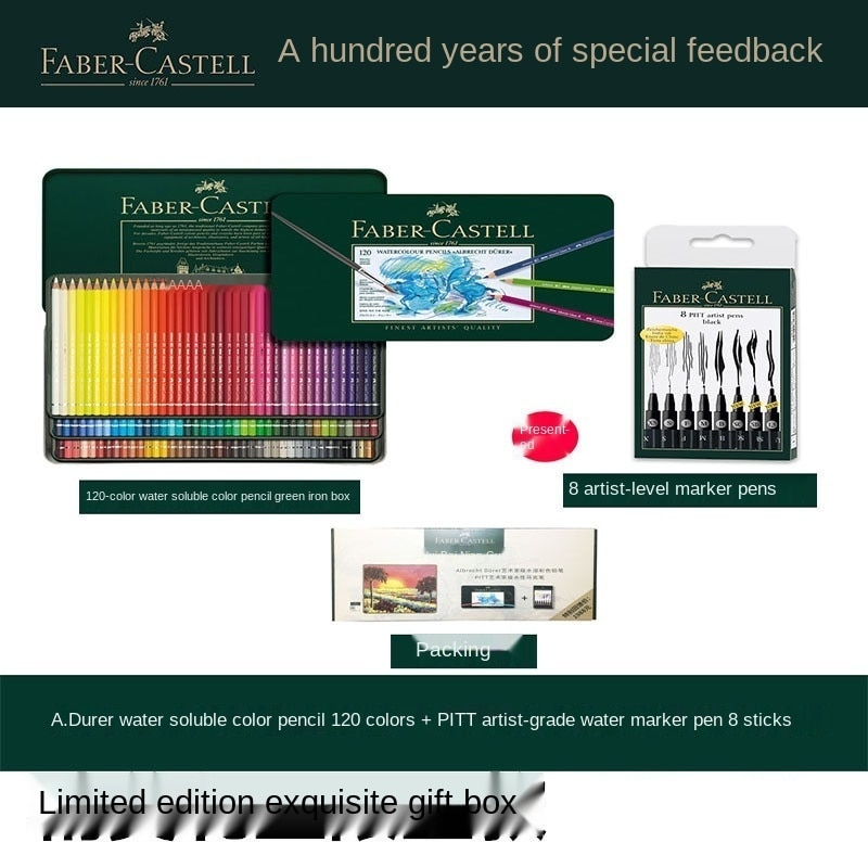 FABER-CASTELL Faber-Castell 117511 Pro 120 Color Soluble Colored Pencil Set +8 Markers