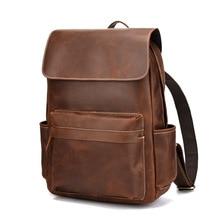MAHEU Macbook Laptop Backpack Leather For Men Male Soft Cow Skin Leather Backpacks Travel Crazy Horse Fashionable Popular Design