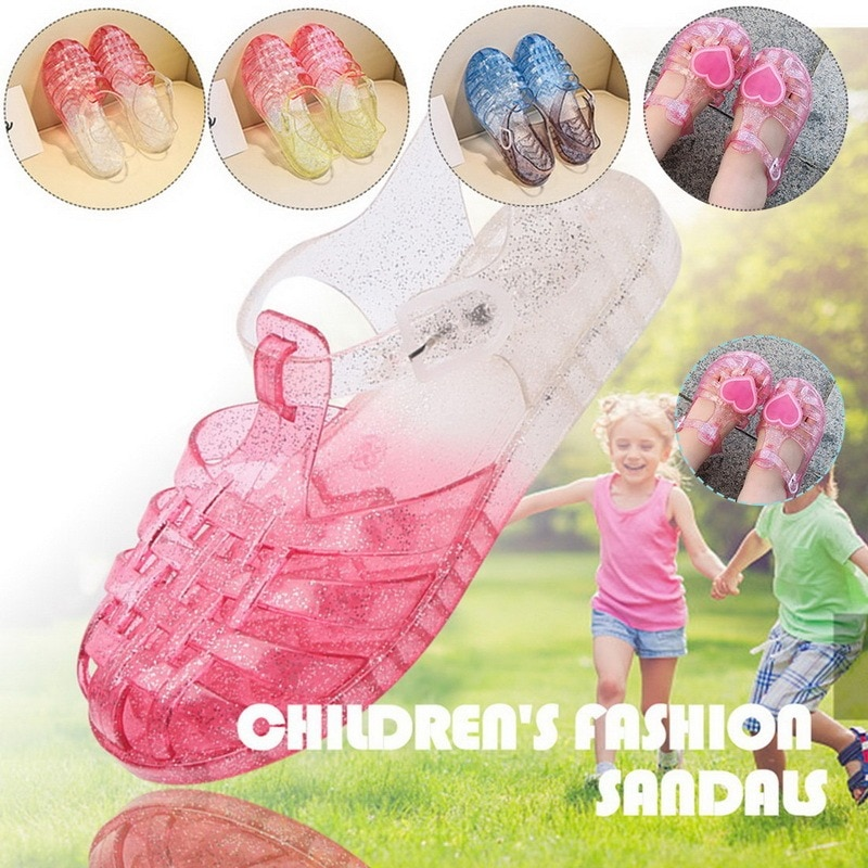 Dropshipping Kids Sandals Clogs Children's Girls Cosplay Dress Up Party Sandals Crystal Princess Hollow Out Candy Color Shoes