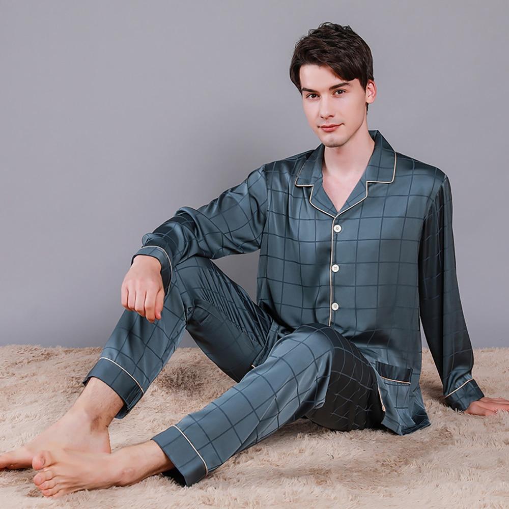 Мужчины Роскошный Лед Шелк Пижамы Весна Лето Высокое Качество Плюс Размер Пижама Комплекты Мужской Комфортный Пижамы Повседневный Благородный Пижама