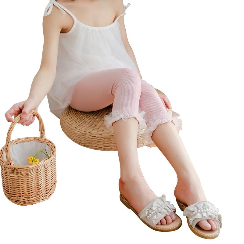 Bonitos pantalones para niñas de 2 a 8 años, pantalones de encaje a la pantorrilla, mallas sencillas de algodón, novedad de otoño invierno 2020, ropa para niños