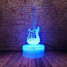 Clignotant 3D Illusion LED enfants veilleuse coloré changeant lumière décor basse guitare modèle Musical jouets