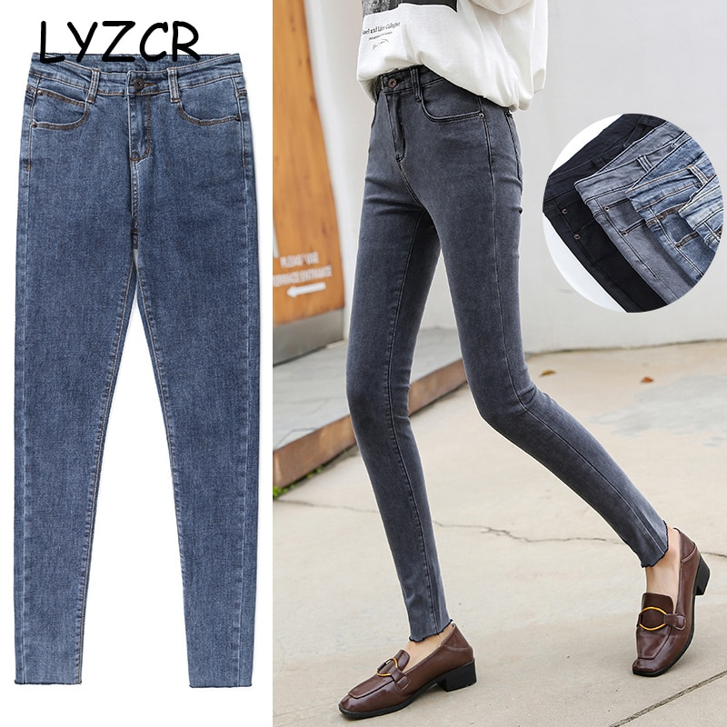 Women Skinny Jeans With High Waist Jeans Stretch Autumn Winter Slim Women's Jeans High Waist Denim Pencil Pants Black Jean Femme