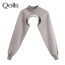 Qeils Women 2021 Fashion Arm Warmer Asymmetric Cropped Sweatshirt Vintage High Neck Long Sleeve Fema
