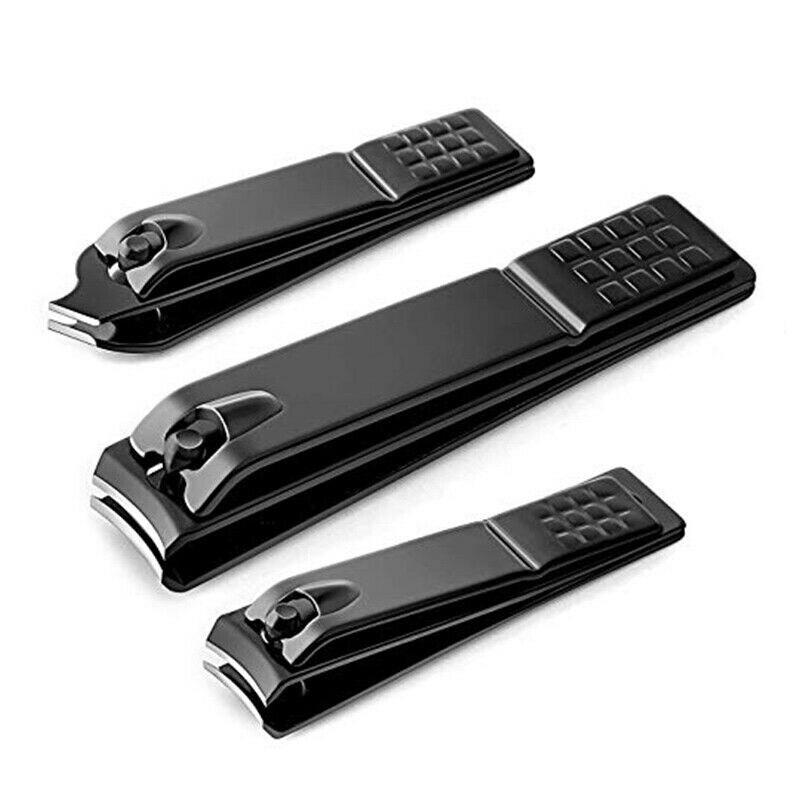 Cortador de uñas de acero inoxidable negro y práctico, recortador de manicura profesional, cortador de uñas de alta calidad
