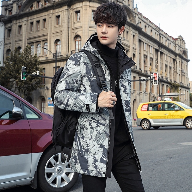 winter sports down jacket middle and long men's thickened warm camouflage student warm coat