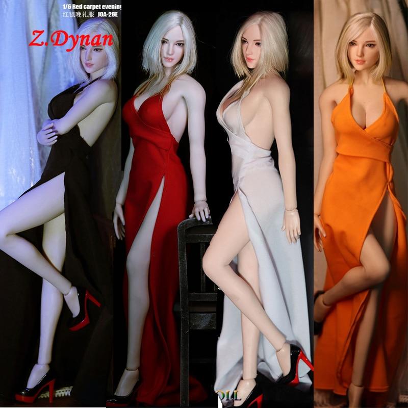 Jiaou boneca 1/6 escala feminina longo vestido de noite sapatos salto alto roupas para 12 polegadas tbleague ação figrues
