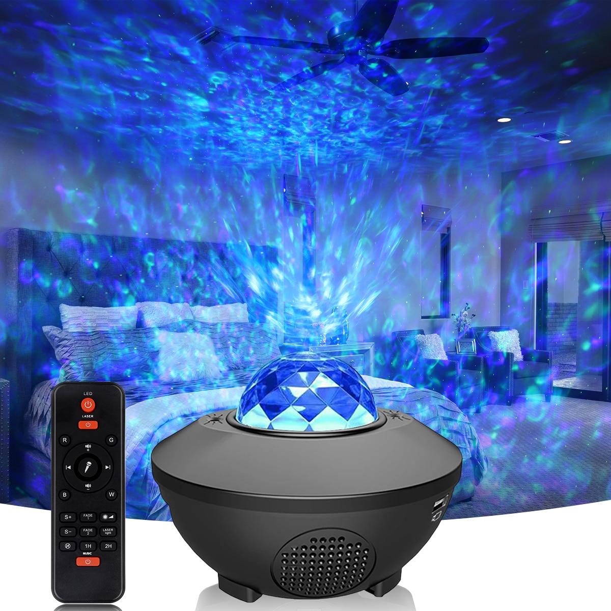 Star Moon Galaxy Projector Light Sky Laser Colorful LED Ocean Wave Music Rhythm Control Night Projector Lights