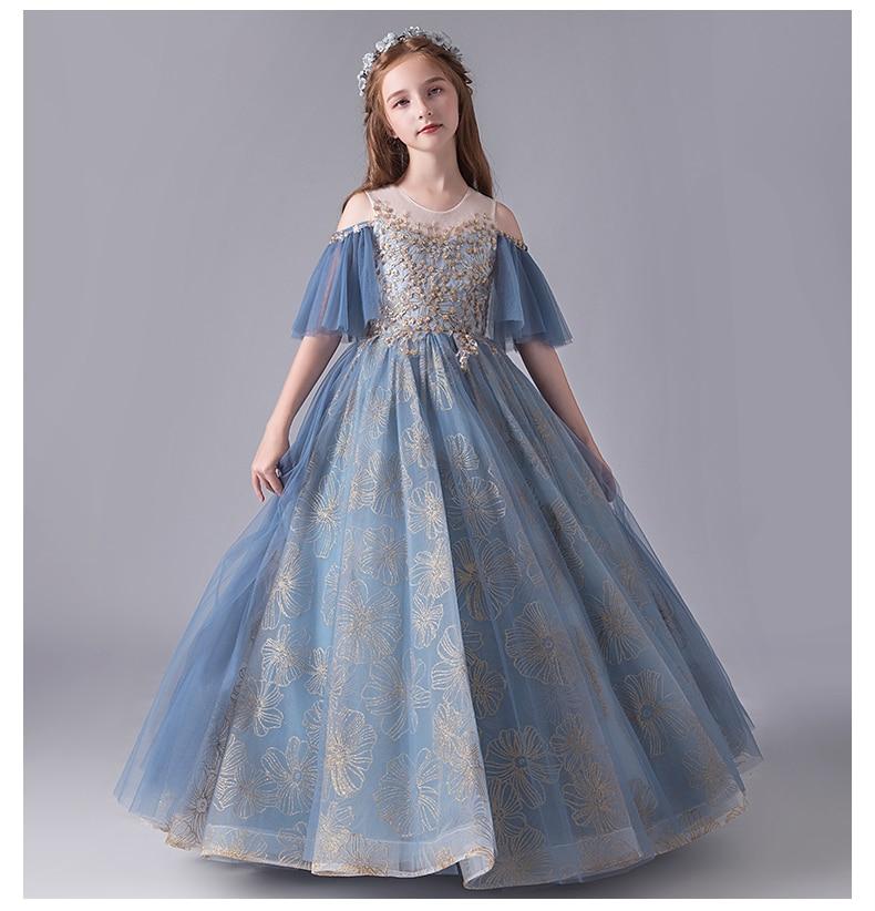 فستان زفاف طويل مطرز بالترتر للبنات ، ملابس أميرة ، مسابقة ، حفلة عيد ميلاد ، أول مناولة للبنات