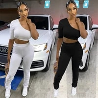 summer one sleeve off shoulder sexy crop top legging pants matching set sexy skinny solid pleated stacked tracksuit suit 2021
