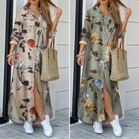 zanzea dresses for women party shirt dress 2021 vintage ladies maxi vestido de mujer autumn casual plaid robe femme