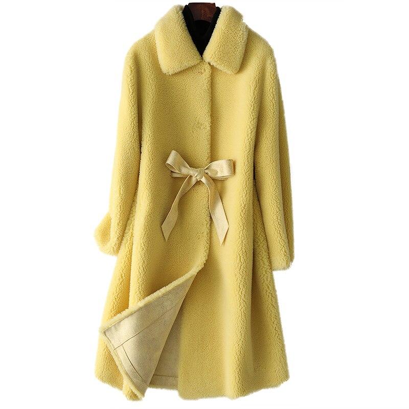 Chaqueta de piel de oveja de alta calidad para mujer 2020 nuevo otoño invierno con cuello POLO moda media larga de lana para mujer