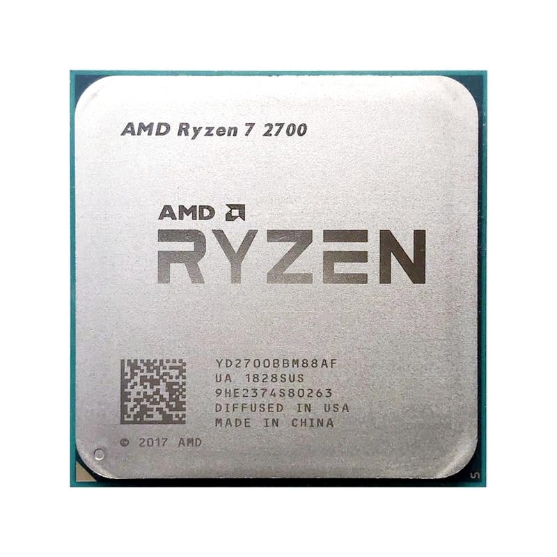 AMD Ryzen 7 2700 R7 2700 3.2GHz huit cœurs 16M 65W processeur YD2700BBM88AF Socket AM4 pièces dispersées cpu pas de ventilateur