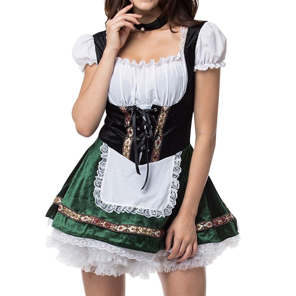 Oktoberfest cerveza dama traje bávaro alemán vestido Dirndl mujeres chica cervecera Sexy uniforme chica fiesta de vestido
