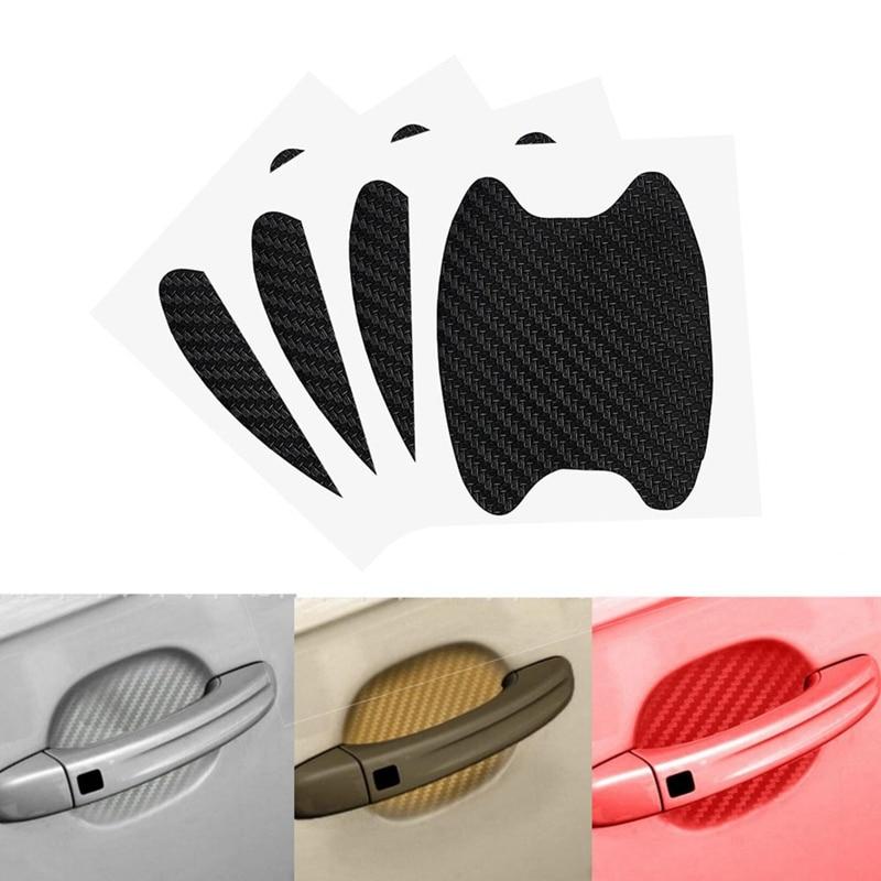 Комплект из 4 предметов с изображением карбоновой нити автомобильные дверные ручки Стикеры s Прозрачный автомобильные дверные ручки наклей...