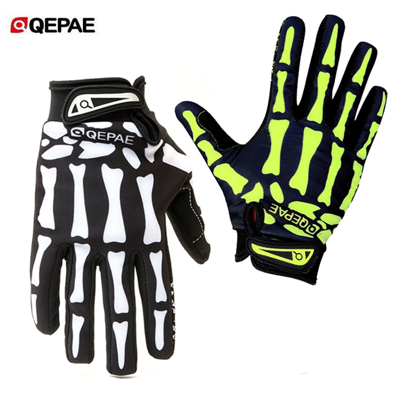 Qeqae New Full Finger Skull Gloves Skeleton Pattern Bicycle Cycling Motorcycle Motorbike Racing Riding Gloves Bike Riding Mitten