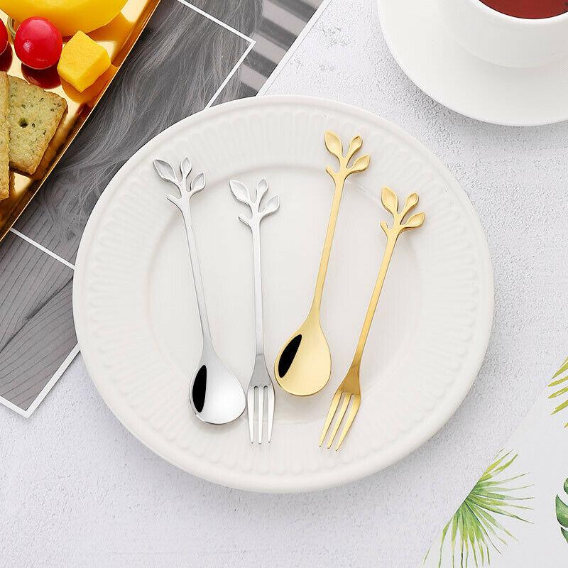 Stainless Steel Gold/Silver Tree Branch Dessert Spoon Fruit Fork Coffee Stirring Milk Tea Tableware Gift Kitchen Dinner Forks