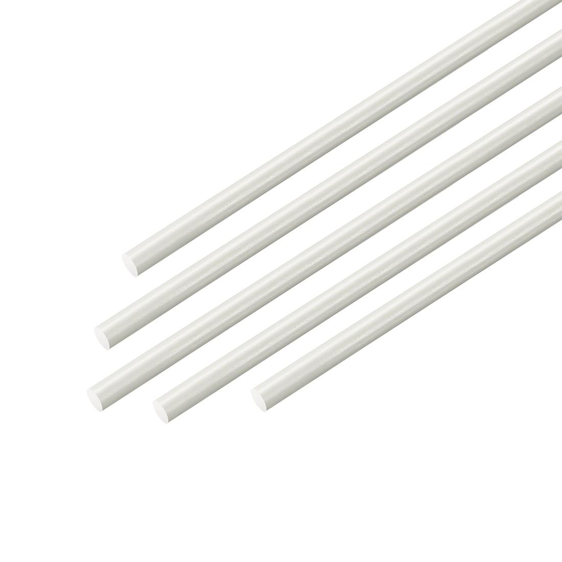 Barra redonda de engenharia preta 5 pces 1.5mm 5 pces branco da fibra de vidro de uxcell frp haste redonda, diâmetro de 2.5mm 50cm de comprimento