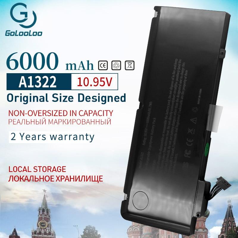 Gololoo 6000 мАч 65.7Wh Новая батарея для ноутбука A1322 для Apple MacBook Pro 13