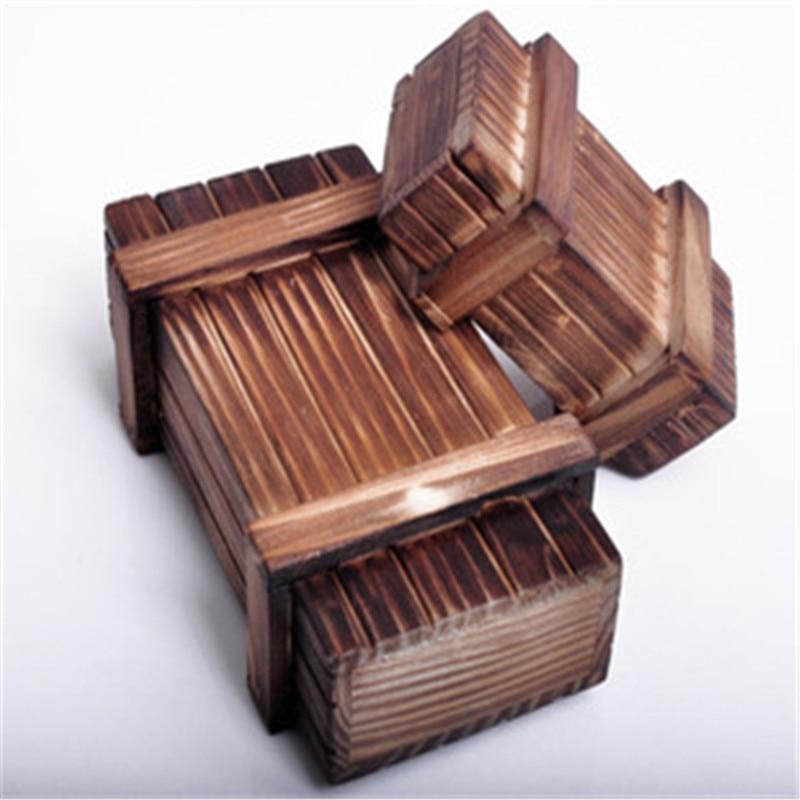 Rompecabezas Vintage Luban entrelazado caja con rompecabezas de madera con cajón secreto rompecabezas mágico cajas de rompecabezas niños juguete de madera J75