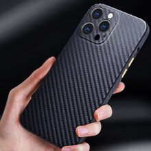 R-just Half-wrapped Carbon Fiber Phone Case For Iphone 13 12 11 Pro Max Ultra-thin Pure Cover For Ip
