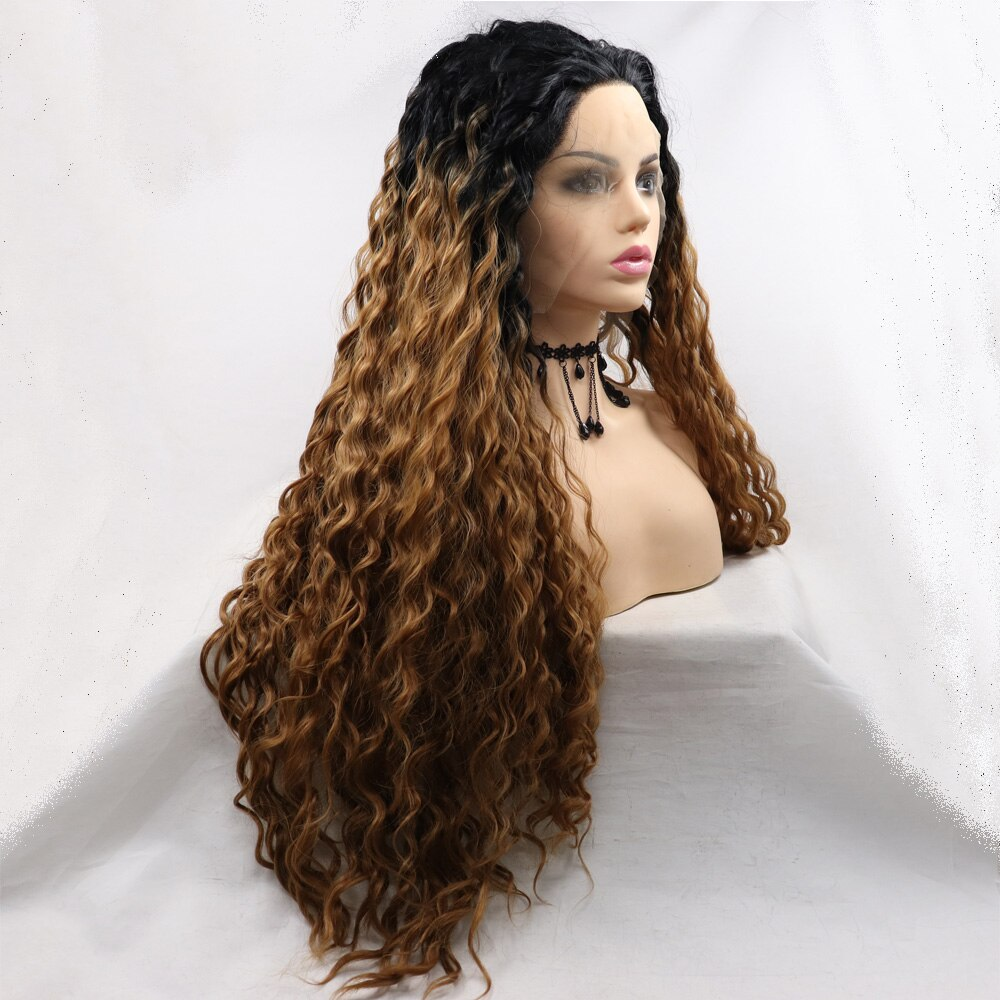"""Melody Blonde Brown Long Curly Wig with Black Root Synthetic Lace Front Wig Soft Wavy Cici Wig Hair Replacement for Women 24"""""""
