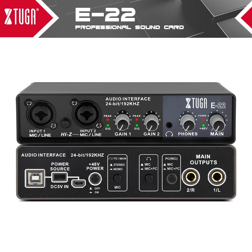 XTUGA E22 جهاز التحكم في الصوت كارت الصوت مع الرصد ، الغيتار الكهربائي لايف تسجيل المهنية كارت الصوت للاستوديو ، الغناء