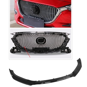 For Mazda 3 Axela 2017 2018 Car Replacement Diamond Style Upper Grille Grill & Glossy Black Lower Front Bumper Spoiler Lip Plate