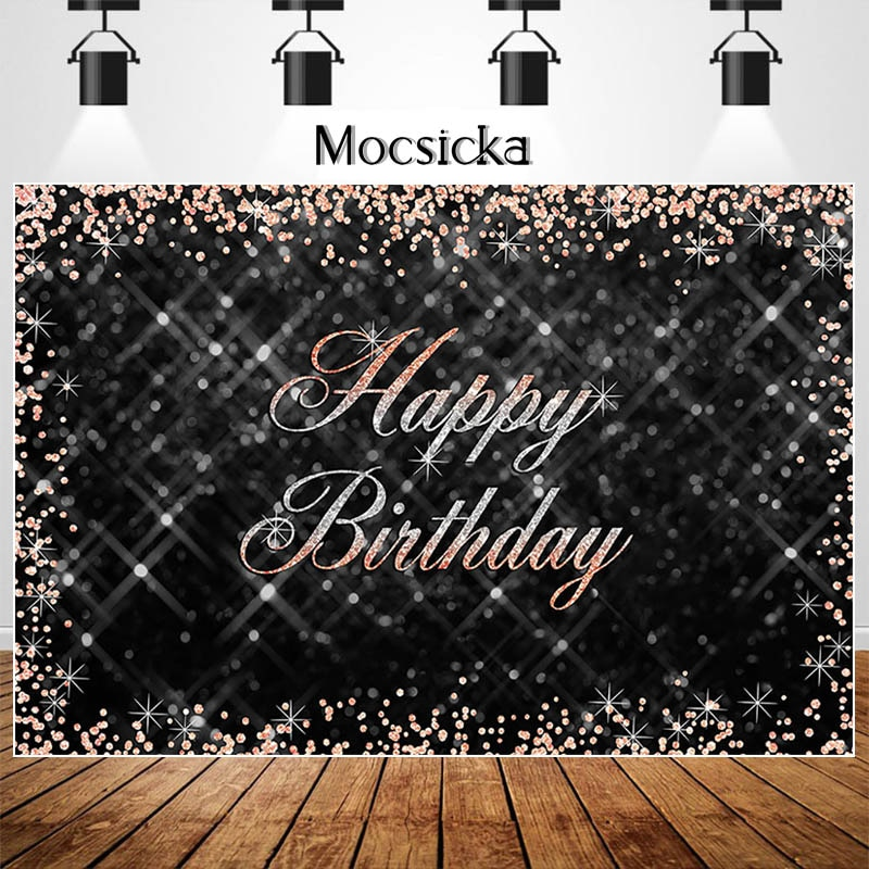 Mocsicka Happy Birthday Backdrop Rose Gold And Silver Flash Point Decor Banner Birthday Photography Background For Photo Studio