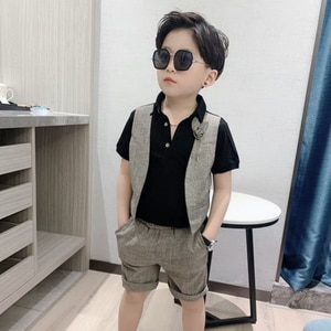 Summer Kids Clothes Boys Set Short Sleeve T-shirt+Short Pieces 2Pcs Set Fashion Handsome Baby Boy Clothing Outfit For 2T-10Yrs