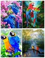 Peinture diamant 5D a deux perroquets de dessin anime  bricolage  peinture  Animal  broderie  point en croix  artisanat  decoration de maison  2020