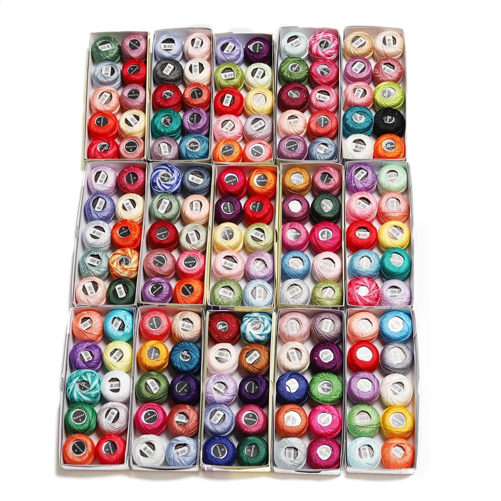 150 colores radom de algodón bordado de perlas hilo tamaño 8 Crochet encaje bordado 5 gramos doble mercerizado 100% egipcio