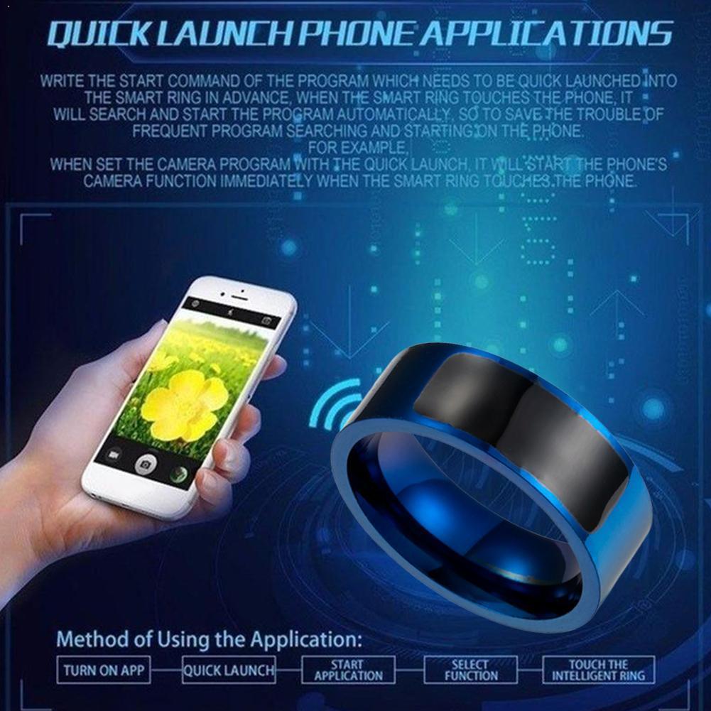Titanium aço nfc anel inteligente tecnologia magia multi-funcional dedo celular windows digital para android anel h9z0