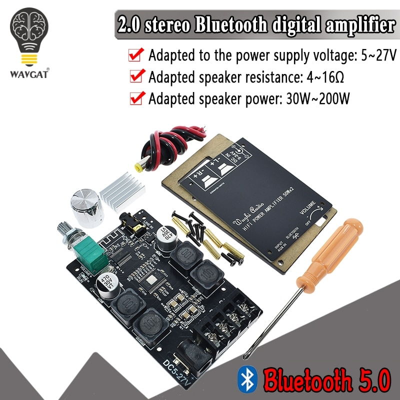 HIFI inalámbrico Bluetooth 5,0 TPA3116 Digital placa amplificadora de Audio TPA3116D2 50WX2 estéreo AMP Amplificador de cine en casa