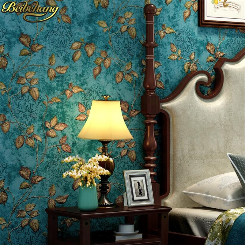 beibehang papel de parede 3D Nordic black white green leaves wallpaper for walls 3 d papel parede wall paper roll home decor beibehang papel de parede 3d warm bedroom non woven wall paper three dimensional rural wallpaper for walls 3 d wall paper