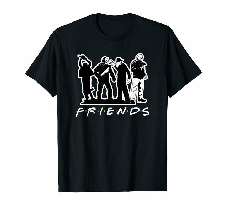 Horror Killers Friend Halloween Black T-Shirt Freddy Krueger Friday The 13th Tops New Unisex Funny Tee Tshirt